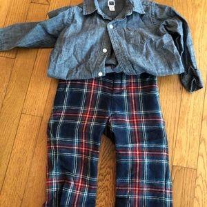 Tartan pants + shirt